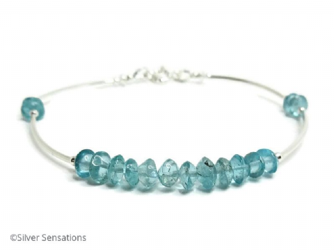Natural Handcut Blue Apatite Gemstones & Sterling Silver Bangle Bracelet